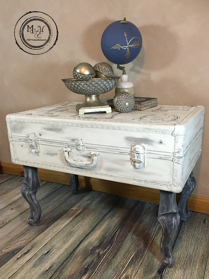 Revived Vintage Luggage/ Steamer Trunk Turned French~inspired Coffee Table