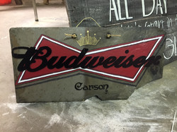 Personalized Budweiser sign on slate tile
