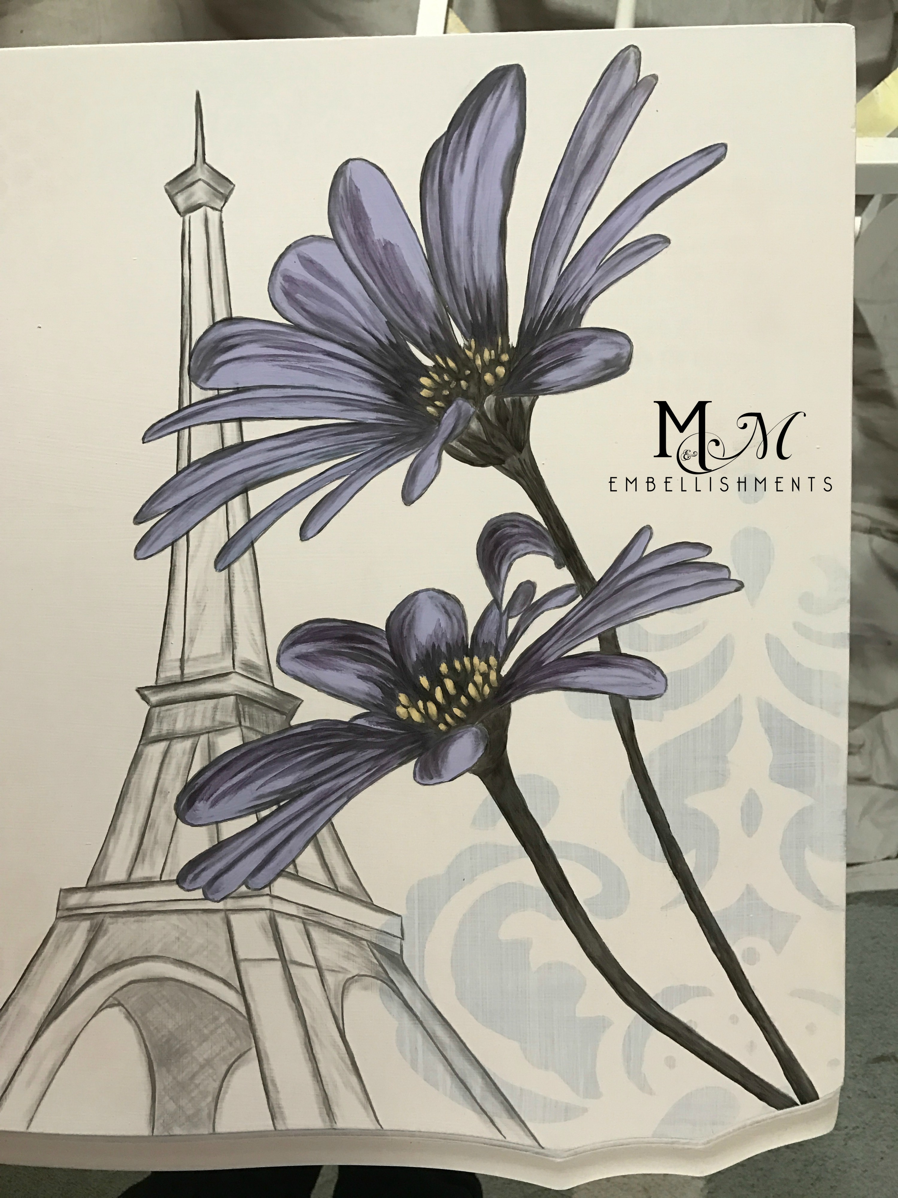 stained art daisies eiffel tower