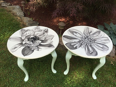 Hand pained magnolias on a pair of end tables