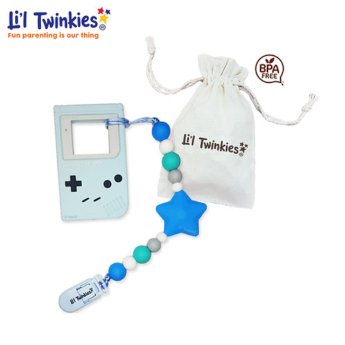 Teether w/ Clip-on, Blue Gameboy