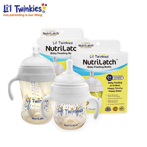 NutriLatch™ PPSU Feeding Bottle SULIT BUNDLE 300ml & 180ml plus FREE TEAT
