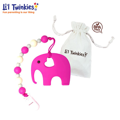 Teether w/ Clip-on, Pink Elephant