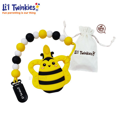 Teether w/ Clip-on, Bee Toothbrush
