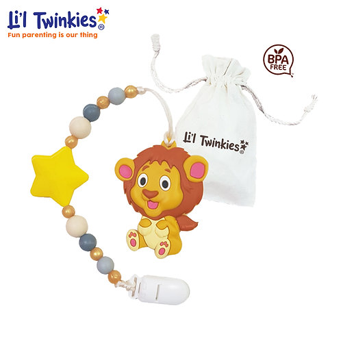 Teether w/ Clip-on, Lovable Lion