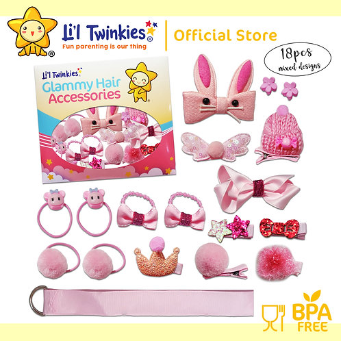 Li'l Twinkies Glamy Hair Accessories 18-in-1, Baby Pink