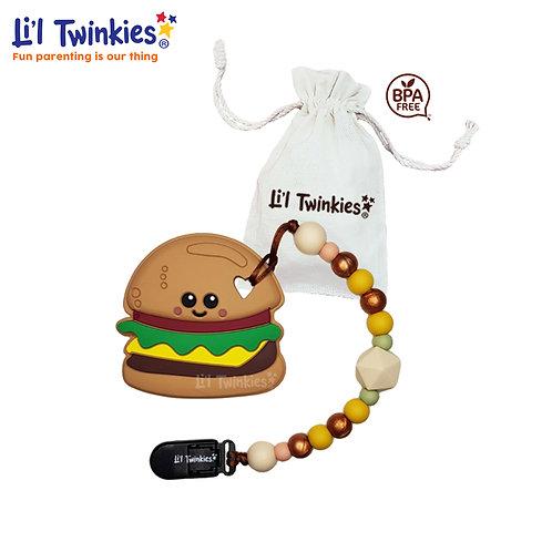 Teether w/ Clip-on, Yum Yum Burger