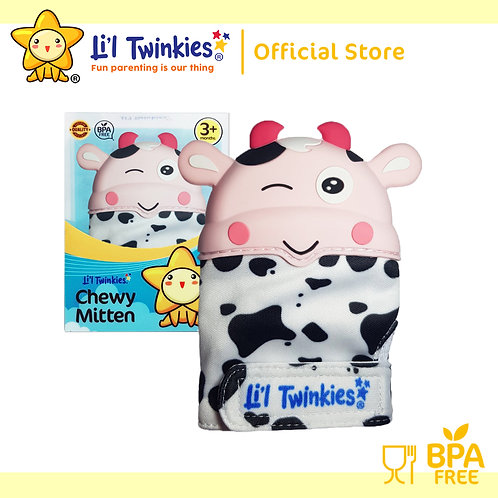 Li'l Twinkies Chewy Mitten Teether, Pink Cow