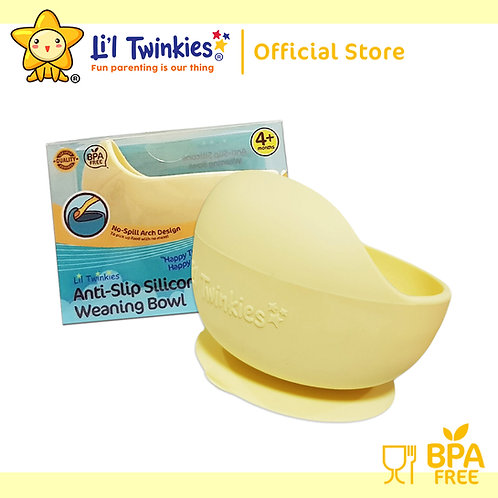 Li'l Twinkies Silicone Weaning Bowl with Suction Bottom, Pastel Yellow