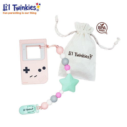 Teether w/ Clip-on, Pink Gameboy