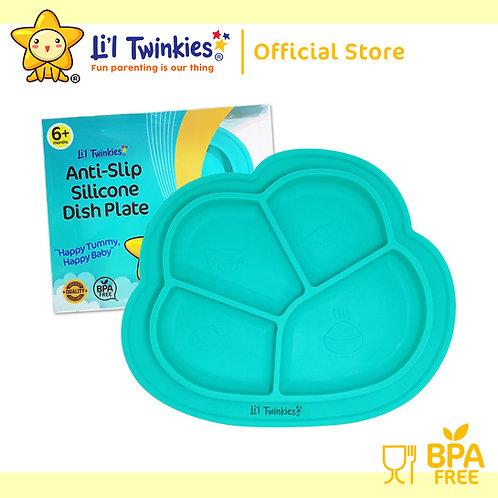 Li'l Twinkies Anti-Slip Silicone Dish Plate, Teal