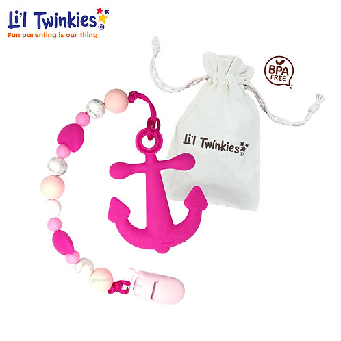 Teether w/ Clip-on, Pink Anchor