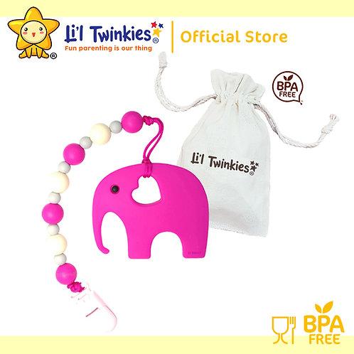 Li'l Twinkies Teether w/ Clip-on, Pink Elephant