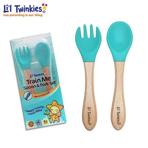Train Me Spoon and Fork, Teal