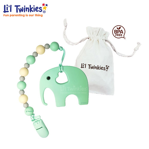 Teether w/ Clip-on, Mint Elephant
