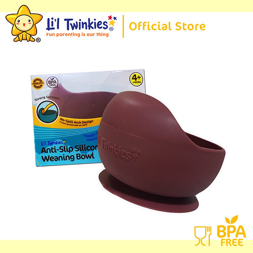 Li'l Twinkies Silicone Weaning Bowl with Suction Bottom, Burgundy