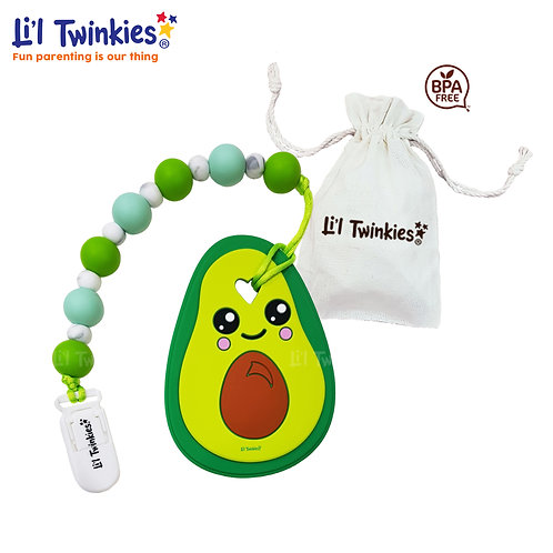 Teether with Clip-on- Avocado