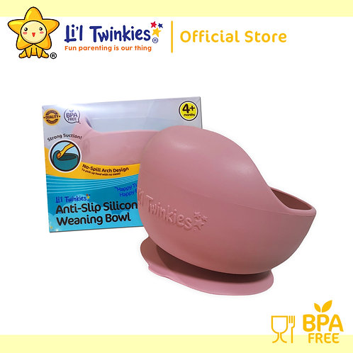 Li'l Twinkies Silicone Weaning Bowl with Suction Bottom, Vintage Rose
