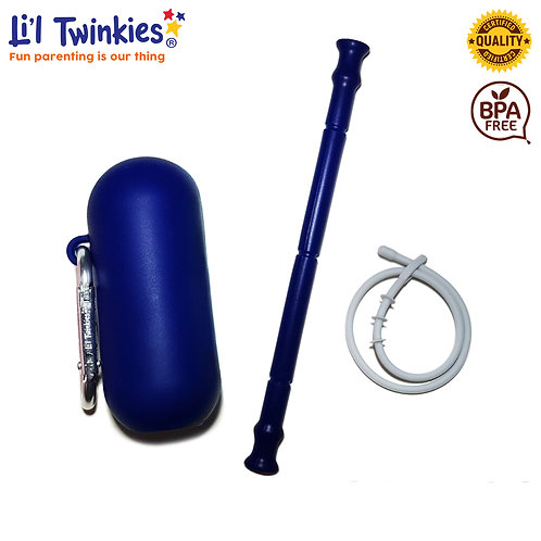 My Personal Straw, Navy Blue / Silicone Drinking Straw (BPA-Free)