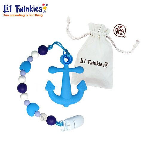 Teether w/ Clip-on, Blue Anchor