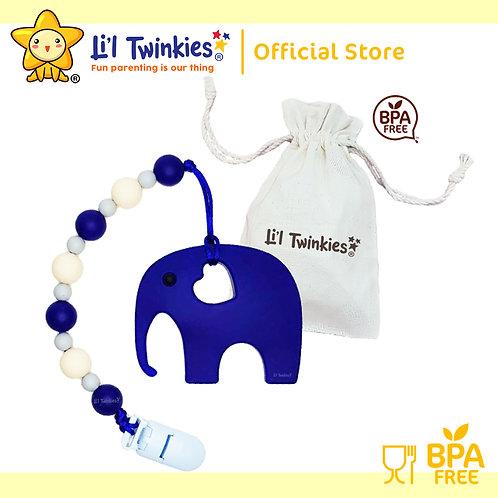 Li'l Twinkies Teether w/ Clip-on, Blue Elephant