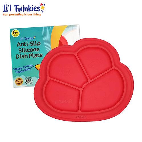 Anti-Slip Silicone Dish Plate, Red