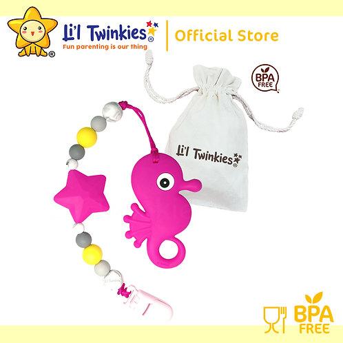 Li'l Twinkies Teether w/ Clip-on, Pink Seahorse