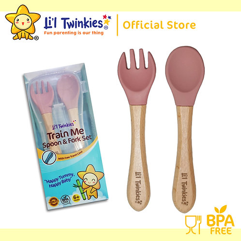 Li'l Twinkies Train Me Spoon and Fork Set, Vintage Rose