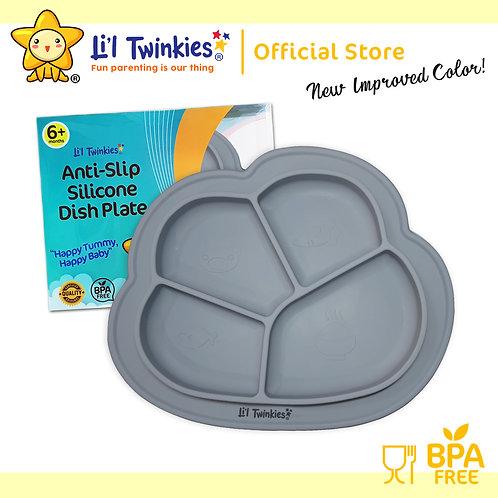 Li'l Twinkies Anti-Slip Silicone Dish Plate, Pewter Gray