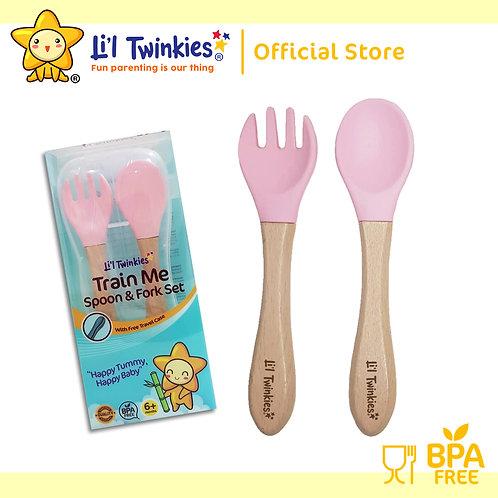 Li'l Twinkies Train Me Spoon and Fork Set, Blush Pink