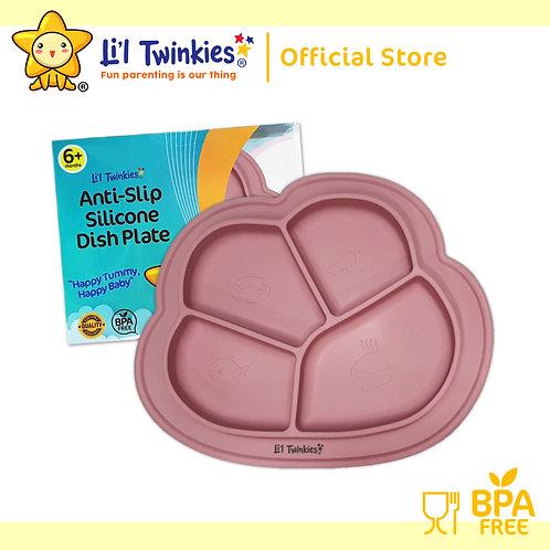 Li'l Twinkies Anti-Slip Silicone Dish Plate, Vintage Rose