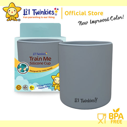 Li'l Twinkies Train Me™ Silicone Cup, Pewter Gray