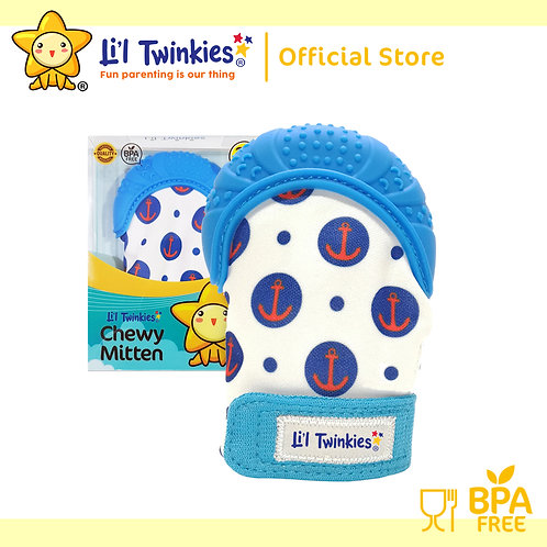 Li'l Twinkies Chewy Mitten Teether, Blue Anchor