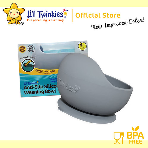 Li'l Twinkies Silicone Weaning Bowl with Suction Bottom, Pewter Gray