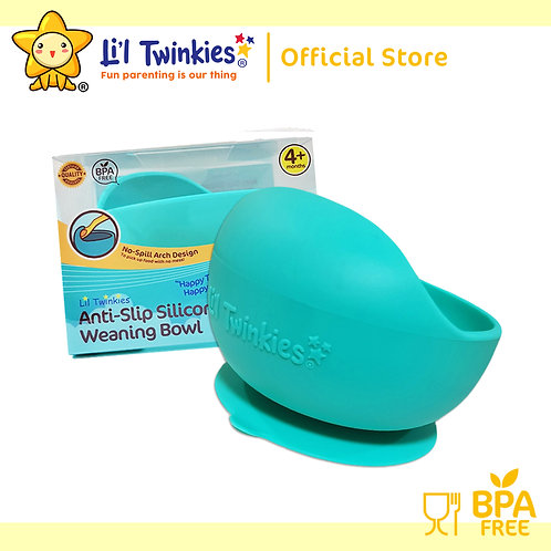 Li'l Twinkies Silicone Weaning Bowl with Suction Bottom, Teal