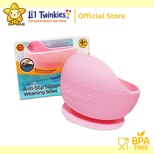 Li'l Twinkies Silicone Weaning Bowl with Suction Bottom, Blush Pink