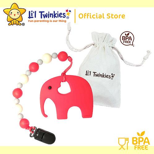 Li'l Twinkies Teether w/ Clip-on, Red Elephant