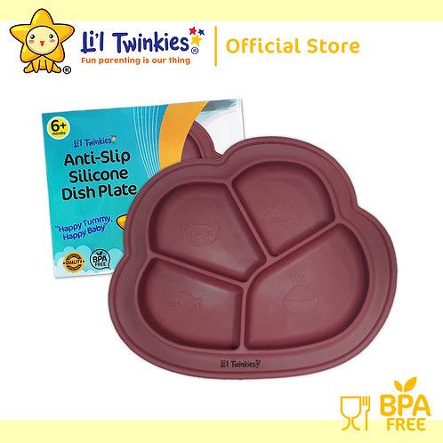 Li'l Twinkies Anti-Slip Silicone Dish Plate, Burgundy