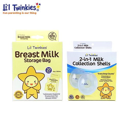 Li'l Twinkies Breastfeeding SULIT BUNDLE MILK BAG 20's + MILK COLLECTION SHELLS
