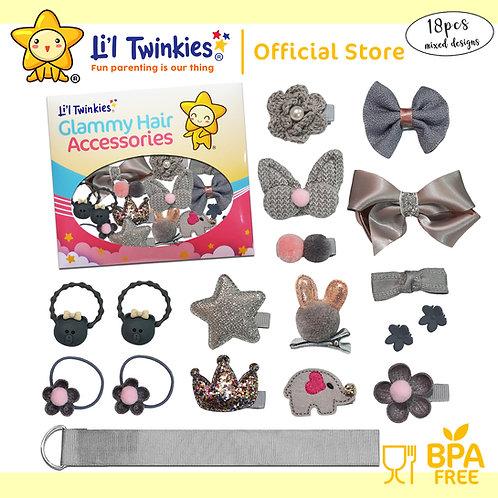 Li'l Twinkies Glamy Hair Accessories 18-in-1, Metallic Gray