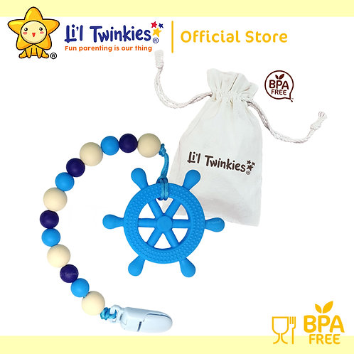 Li'l Twinkies Teether w/ Clip-on, Blue Helm