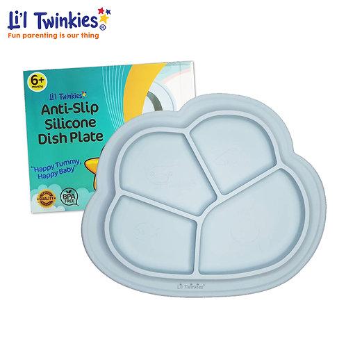 Anti-Slip Silicone Dish Plate, Gray