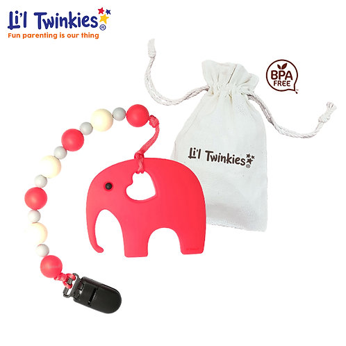 Teether w/ Clip-on, Red Elephant
