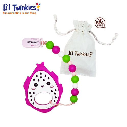 Teether w/ Clip-on, Hearty Dragonfruit