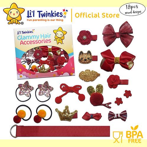 Li'l Twinkies Glamy Hair Accessories 18-in-1, Red Wine