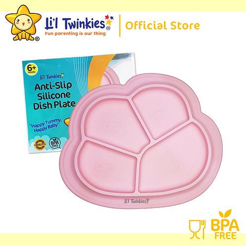 Li'l Twinkies Anti-Slip Silicone Dish Plate, Blush Pink