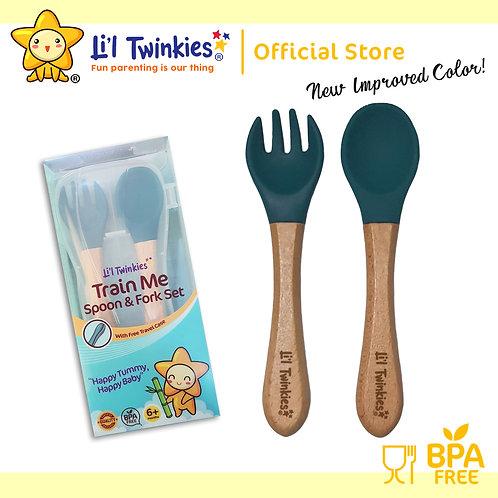 Li'l Twinkies Train Me Spoon and Fork Set, Peacock Blue