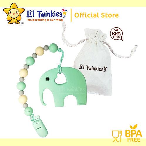 Li'l Twinkies Teether w/ Clip-on, Mint Elephant