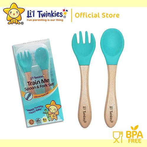 Li'l Twinkies Train Me Spoon and Fork Set, Teal