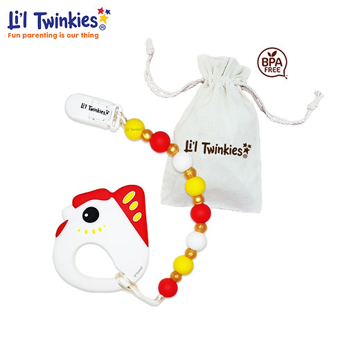 Teether w/ Clip-on, Lucky Chicken